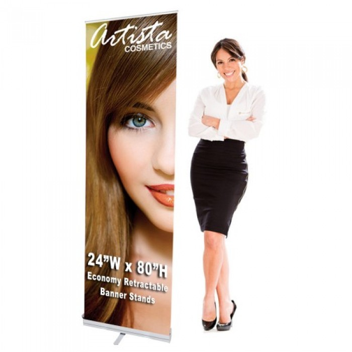 24 x 80 Economy Retractable Banner Stand & Graphic Print