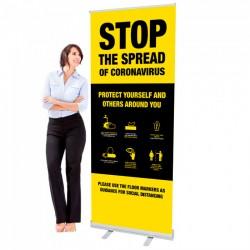 Covid 19 - Stop The Spread Design 1 - 33.5 x 80 Economy Retractable Banner Stand & Graphic Print