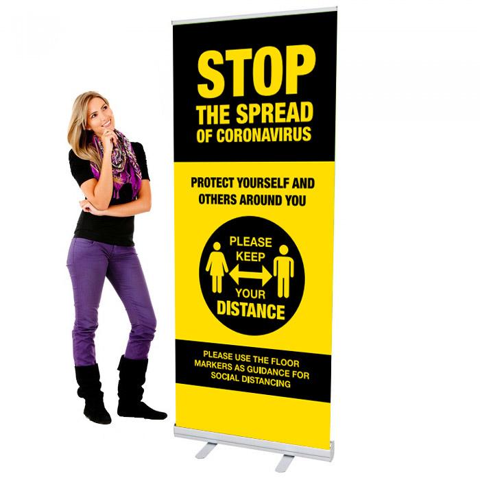 Covid 19 - Stop The Spread Design 2 - 33.5 x 80 Economy Retractable Banner Stand & Graphic Print