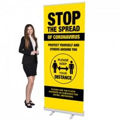 Covid 19 - Stop The Spread Design 3 - 33.5 x 80 Economy Retractable Banner Stand & Graphic Print