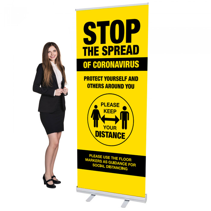 Covid 19 - Stop The Spread Design 3 - 33.5 x 80 Economy Retractable Banner Stand & Graphic Print