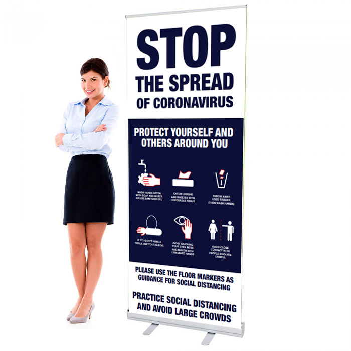 Covid 19 - Stop The Spread Design 4 - 33.5 x 80 Economy Retractable Banner Stand & Graphic Print
