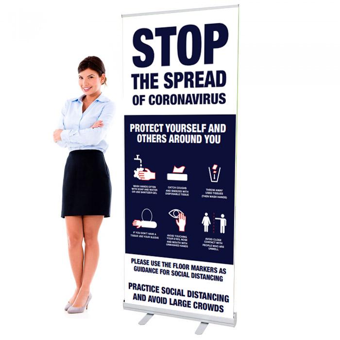Covid 19 - Stop The Spread Design 4 - 33.5 x 80 Economy Retractable Banner Stand & Graphic Print