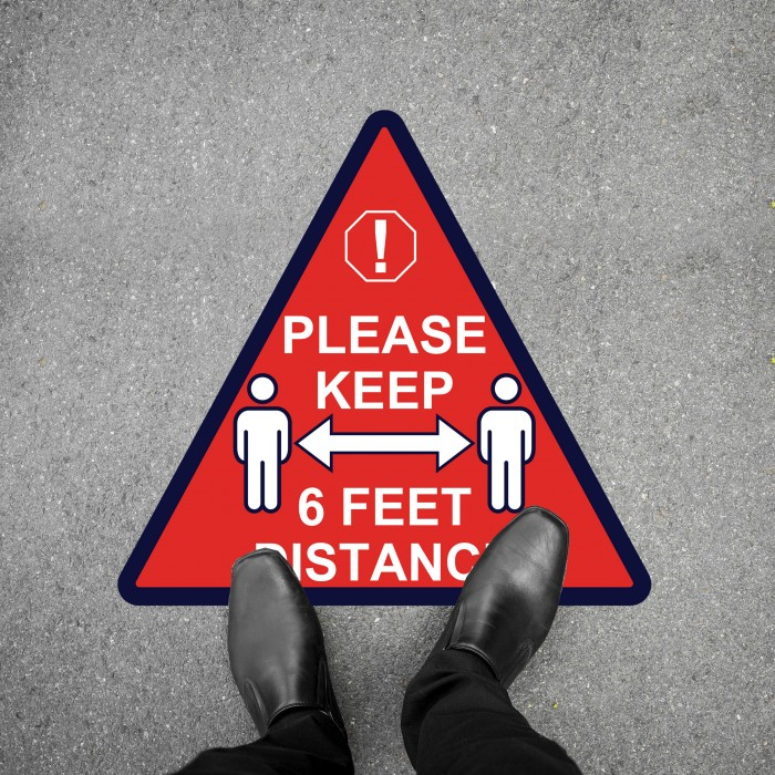 Social Distancing Floor Decal - Please Keep 6 Feet Distance Triangle