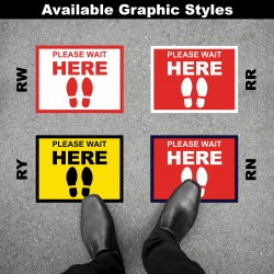 Social Distancing Floor Decal - Please Wait Here Round