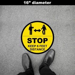 Social Distancing Floor Decal - STOP Keep 6  Feet Distance