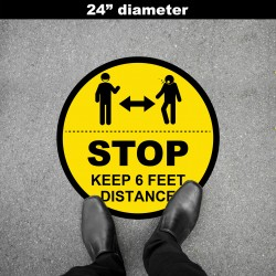 Social Distancing Floor Decal - STOP Keep 6  Feet Distance