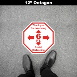Social Distancing Floor Decal - Thank you for Practicing 6ft Octagon